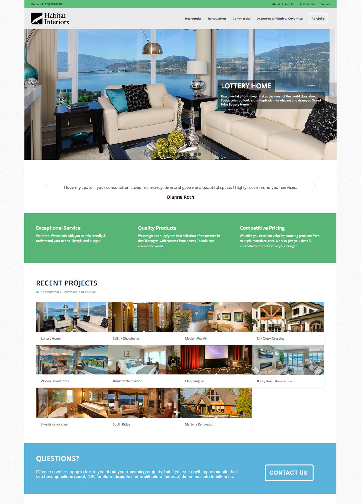 Habitat Interiors - Website design